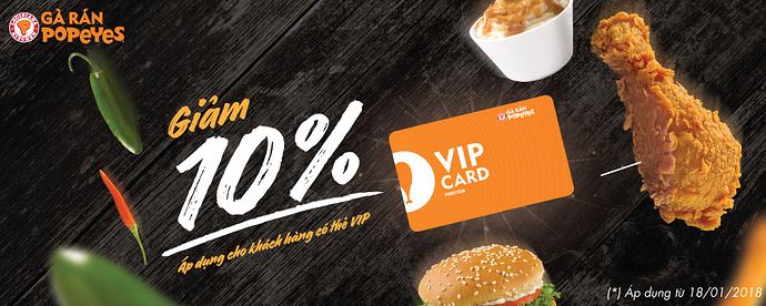 Ưu đãi 10% toàn bộ hóa đơn cho khách hàng sở hữu vip card