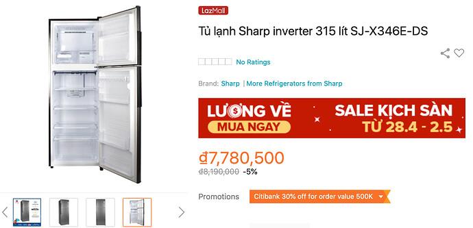 Tủ lạnh Sharp Inverter SJ-X346E-DS