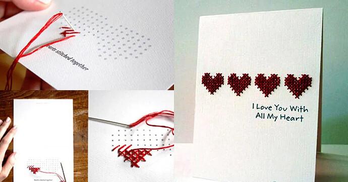 Thiệp Valentine thêu chữ thập