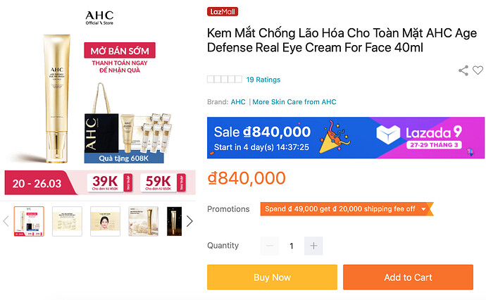 AHC Age Defense Real Eye Cream For Face 40ml