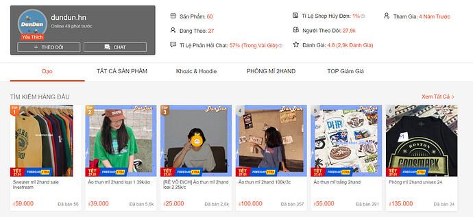 Shop bán Áo thun giá rẻ Shopee