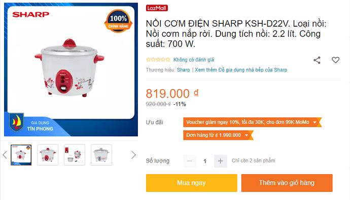 Nồi cơm điện Sharp KSH-D22V nắp rời