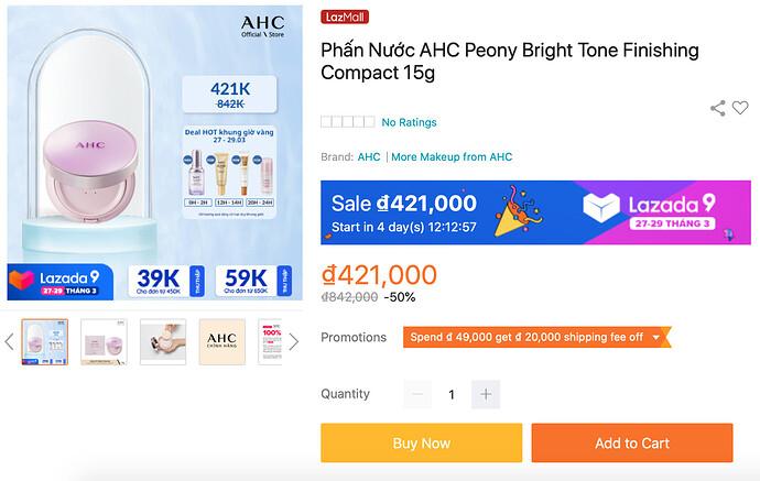 AHC Peony Bright Tone Finishing Compact