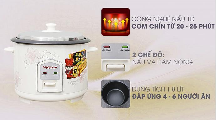 Chức năng nồi cơm điện Happy Cook