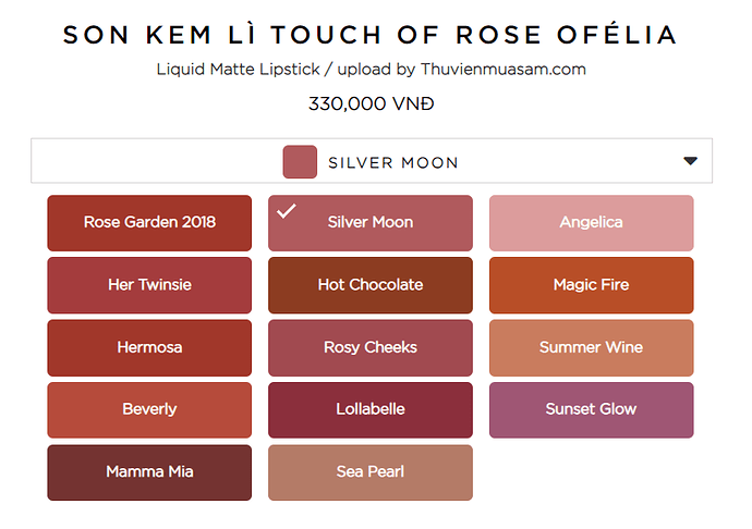 Bảng màu son ofelia touch of rose 2020