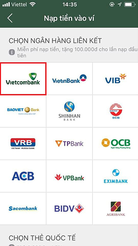 "Chọn ""Vietcombank"""