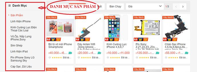 danh muc san pham linh kien dien thoai shopee