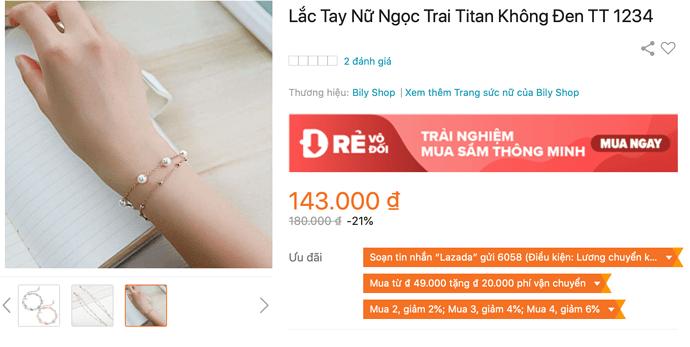 Lắc tay nữ ngọc trai Titan