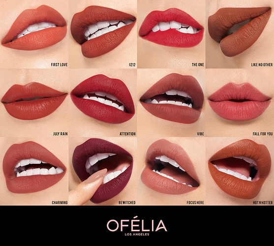bảng màu son Ofélia Modern Matte Lipstick