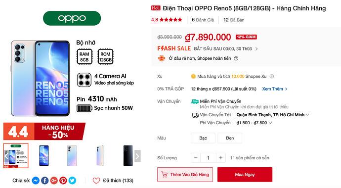 Điện thoại Oppo Reno5