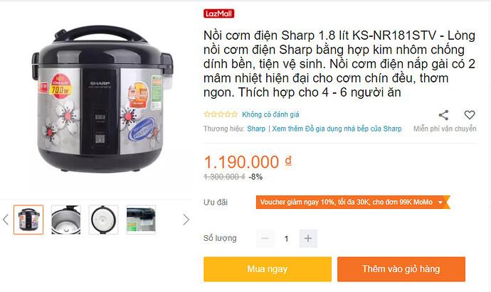 Nồi cơm điện Sharp 1.8 lít KS-NR191STV nắp gài