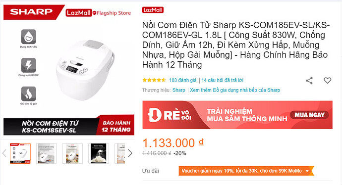 Nồi cơm điện tử Sharp KS-COM185EV-SL/KS-COM186EV-GL