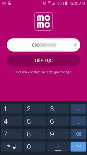 Nhập số điện thoại của bạn để đăng ký Ví MoMo