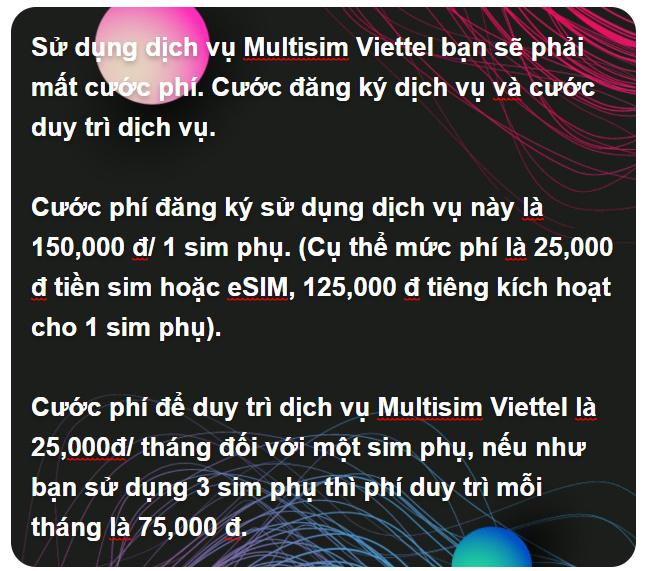 Cước phí sử dụng dịch vụ Multisim Viettel