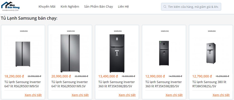 Top tủ lạnh Samsung bán chạy tại Nhabanhang