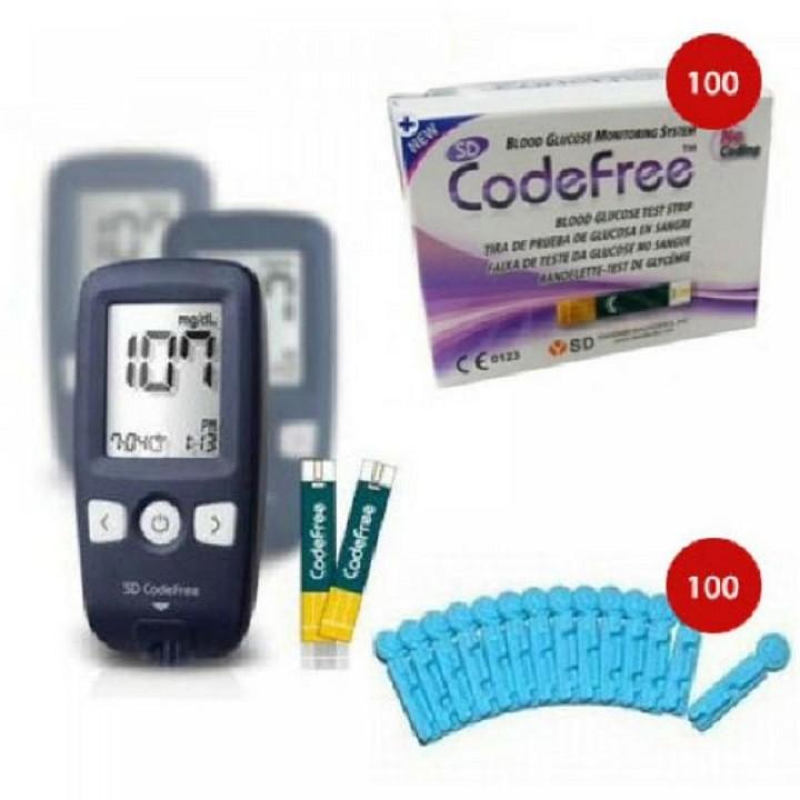 Máy đo đường huyết cài đặt que thử dạng code