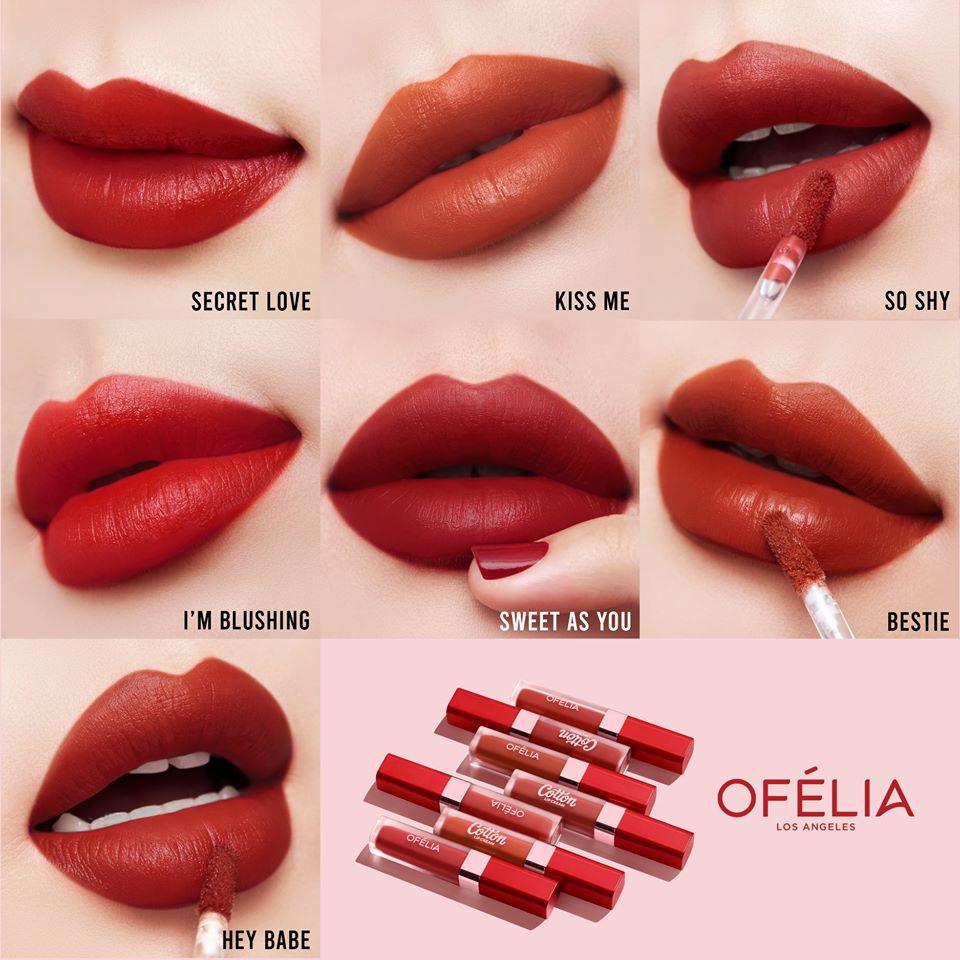 Các màu son của bộ sản phẩm Ofélia Cotton Lip Cream